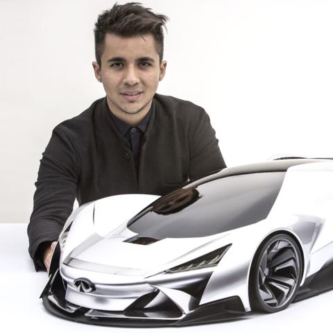 Daniel Jimenez with model car