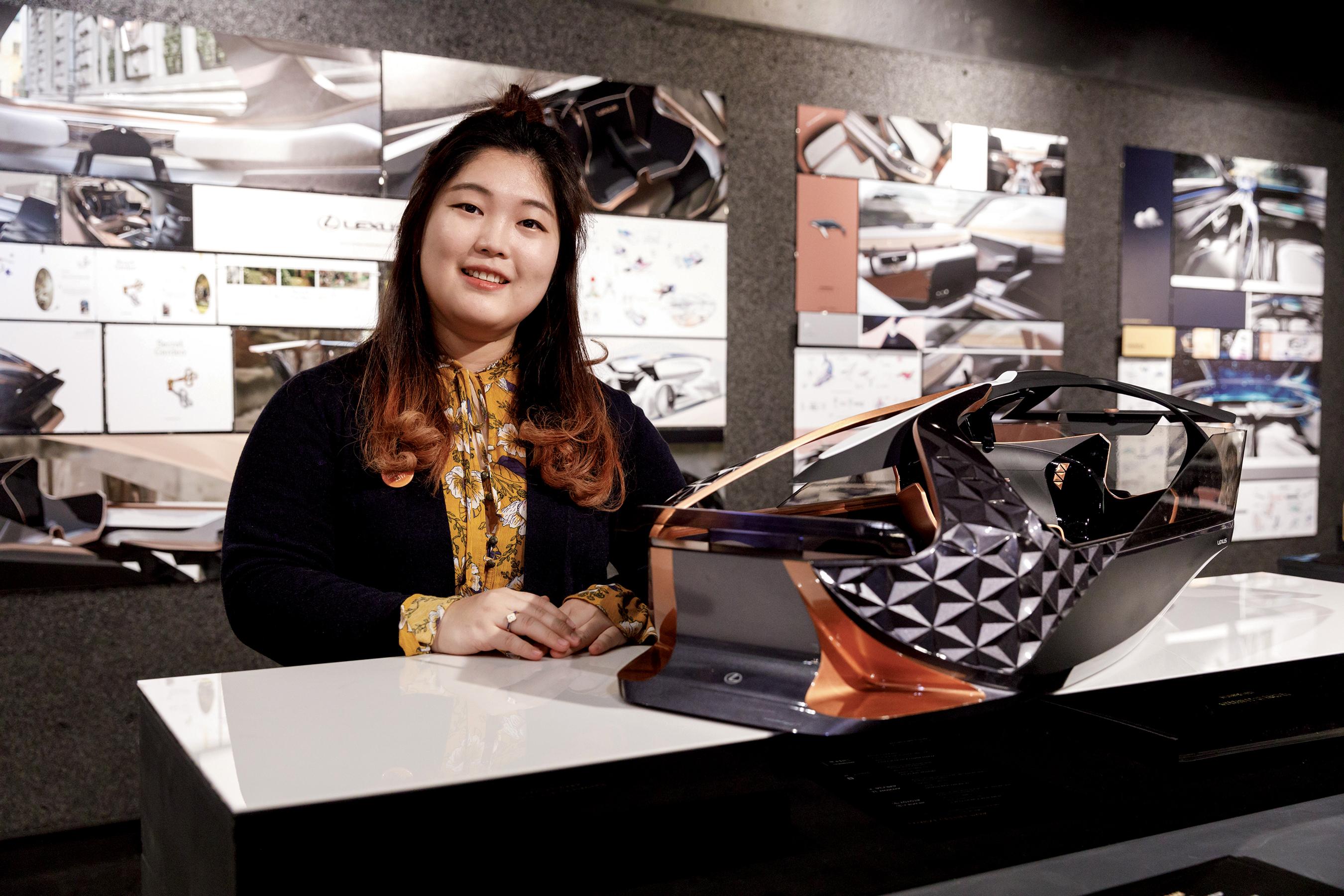 Recent Transportation Design alumna Jasmine Geehee Park at her Fall 2017 Grad Show