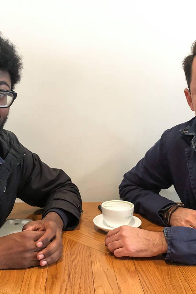 ArtCenter Film student Joel Aaron and his mentor Brandon Martinez at coffeehouse Copa Vida in Pasadena, California