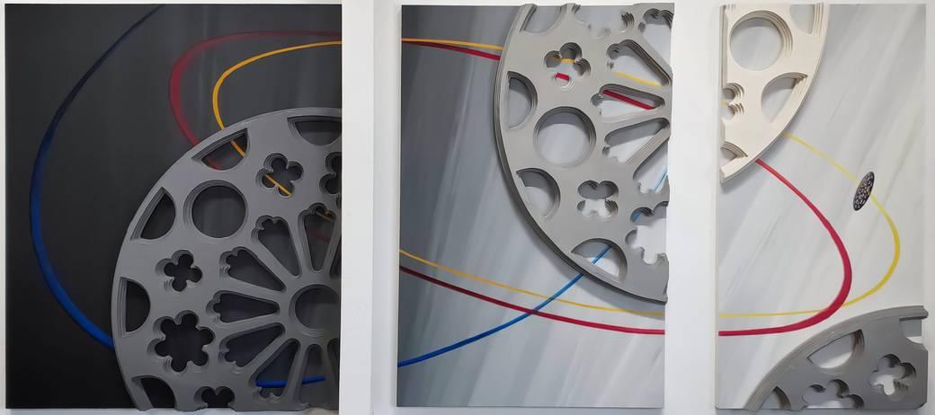 Broken Rose, 2019, Oil paint, acrylic paint, sheet rock on three wood panels