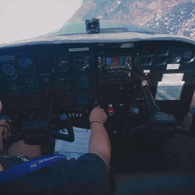 image from Lia Halloran exhibition - lia in the cockpit