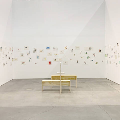 Installation photo of John Wu exhibit