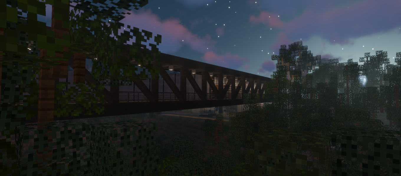 Minecraft night scene of the ArtCenter campus